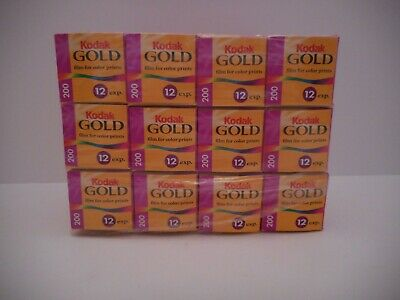 12 Boxes of Kodak Gold 200 12 exp 35 MM Color Film Develop Before 02/2001