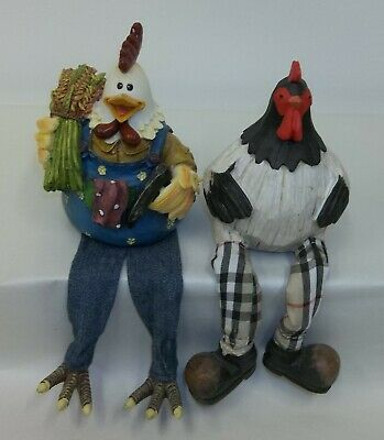 Pair of Antrhropomorphic Hen Rooster Country Farm House Shelf Sitters