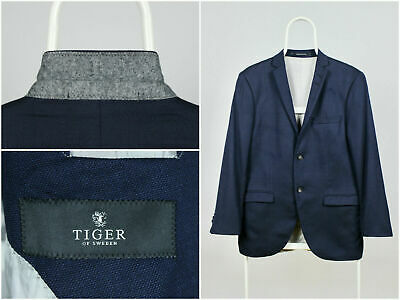 Mens Tiger of Sweden Blazer Jacket Coat Sport Two Button Blue Wool Size 48