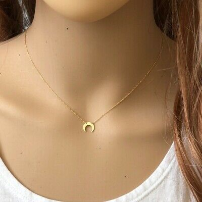 MINI CRESCENT MOON NECKLACE 14K WHITE GOLD  0.03CTS  SI1 CLARITY G COLOR