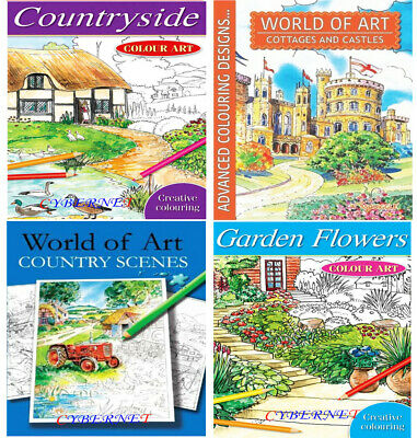 Adult Art Colour Therapy Colouring Book Books Anti-Stress WORLD OF ART Pencils