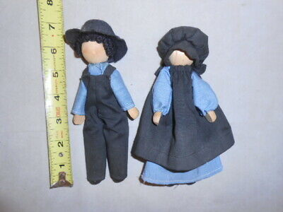 "Amish clothespin 7"" dolls faceless wooden quality clothing folk art lot set"