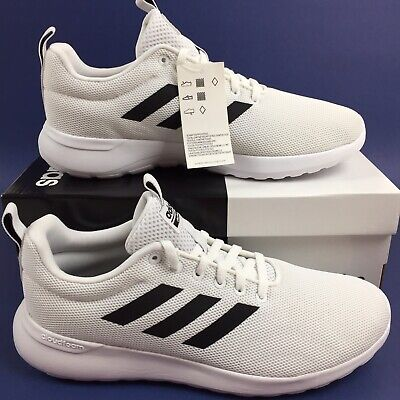 Adidas Mens Size 9.5 White/Black Lite Racer CLN Running Shoes With Cloudfoam