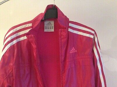 Girls Pink Adidas shiny Hoody tracksuit size 11-12 years