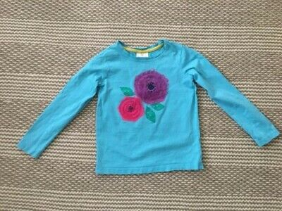 Hanna Andersson Girls Top Size 120/6-7 Floral Long Sleeve Light Blue