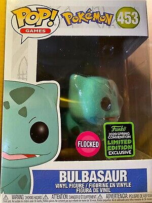 Funko Pop Flocked Bulbasaur Amazon ECCC SHARED SPRING EXCLUSIVE + Soft Protector