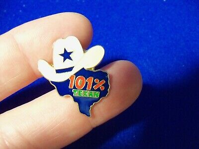 TEXAS 101% Percent White HAT with blue Star shaped Hat/Lapel PIN