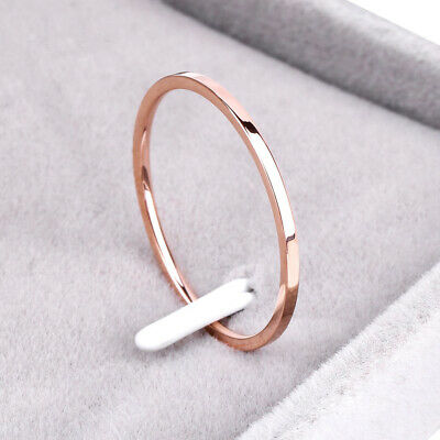 1.2mm Thin Polished Band Yellow Rose Gold Silver Men Women Wedding Ring All Size
