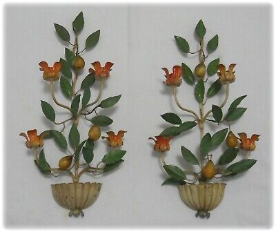 Pair Antique Shabby Chic Italian Tole Pear & Leaves Wall Sconces Candle Holders