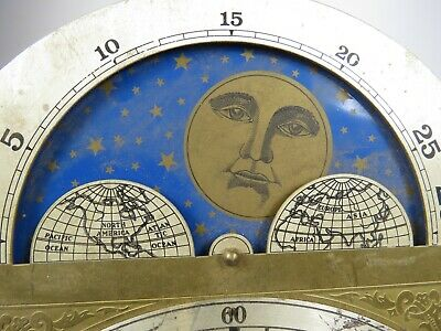 Vintage Brass Clock Face Dial Grandfather Ship Sun Moon Stars Heavy Stunning