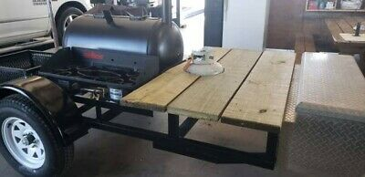 New built BBQ pit Wood / Charcoal grill smoker trailer. 2 Burner propane cooker