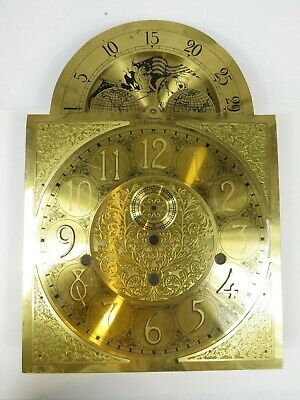VTG Brass Clock Face Dial Grandfather Steinway Moon Declaration of Independence