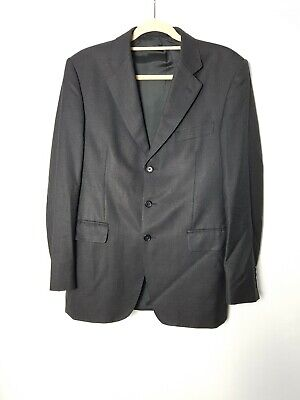 Vintage Aquascutum Charcoal Grey Wool Blazer Suit Jacket Size 40R pit to pit 21""