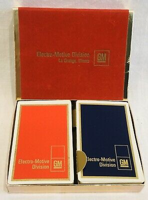 Electro-Motive Division General Motors Double Deck Playing Cards and Box EUC