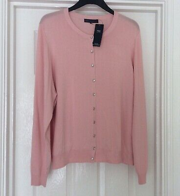 Pretty Marks And Spencer M&S Very Soft Pale Pink Cardigan Size 24 Bnwt Free P&P