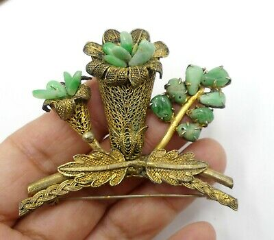Antique large Chinese gold plated metal filigree & jade brooch
