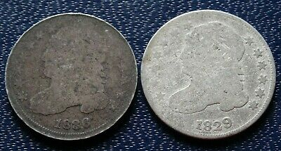 1800s CAPPED BUST DIME Coin Lot 1829 1836 90% SILVER Old P-Mint 10C Collection