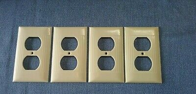 Vtg 4 Sierra Electric Outlet Cover Plates Bakelite Ivory Art Deco Ribbed