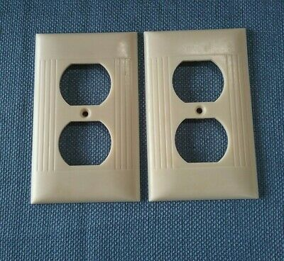 Vtg 2 Sierra Electric Outlet Cover Plates Bakelite Ivory Art Deco Ribbed