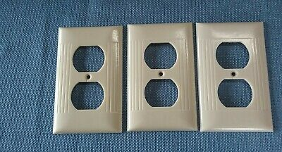 Vtg 3 Sierra Electric Outlet Cover Plates Bakelite Ivory Art Deco Ribbed
