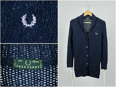 Girls Kids Vintage 90s Fred Perry Cardigan Knit Sweater Wool Blue Size 10 Years