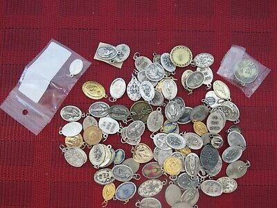 Lot of 92 Vintage  Catholic Religious Holy Medals, Pendants ,Charms ,More
