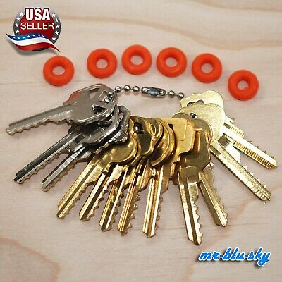 Cut Key Set of 12 (Residential) with 6 rubber rings, locksmith lockout space