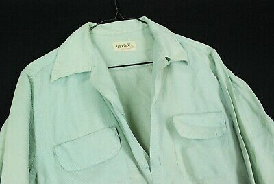 Vintage McCall Sanforized Top Loop Button Up Shirt Green Checked Flap Pocket Men