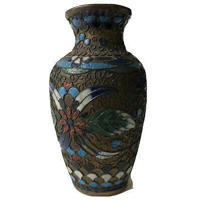 "Antique Chinese Cloisonne Vase Miniature Early Brass Enamel China 3 1/2"" Vintage"
