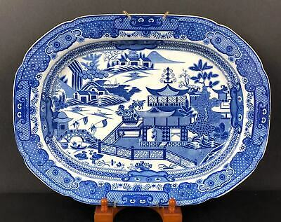 """Large Blue and White Porcelain Platter 17 ¼"""" Chinese Garden Pattern circa 1830"""