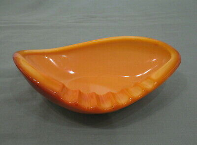 Vintage LE Smith midcentury modern orange slag glass boomerang cigar ashtray