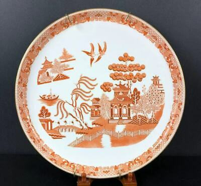"Gorgeous Red Super Large Round Porcelain Tray 17"" Chinese Willow Pattern c 1870"