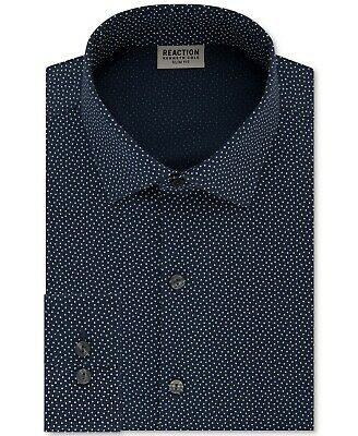 Kenneth Cole Reaction Men's Slim-Fit Dress Shirt, Navy Blue, Small, 14.5, 32/33
