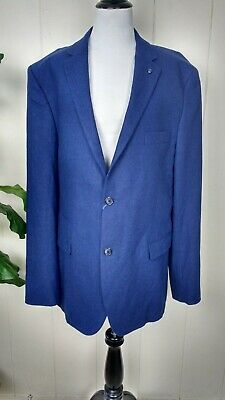 7 Diamonds Blue Wool Blend Mens Blazer Suit Jacket Size XXL Long Sleeve Collared