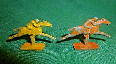 """Metal race horse figurines with jockeys.1"""" tall, painted, pot metal. Game pieces"""