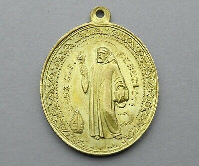 French, Antique Religious Large Pendant. Saint Benedict of Nursia Benoit. Medal.