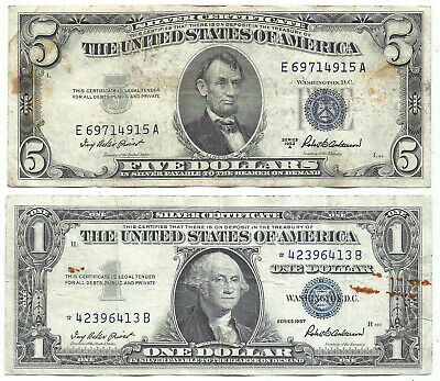 1953A $5 BLUE! 1957 $1 **STAR** 2 Notes! STAINS! Old US Paper Money Currency!