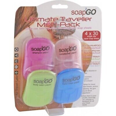 NEW Soap 2 Go Hygienic Paper Soap Sheets Multi Pack - Perfect for Travel,Picnics