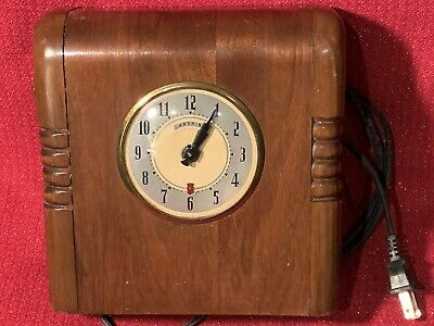 Early Electric Art Deco 1930's Landgraf Chicago USA Mantel Desk Clock Running