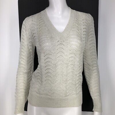 Vintage Jolie Womens Small Sweater Metallic Off White Silver Rockabilly Pin Up S