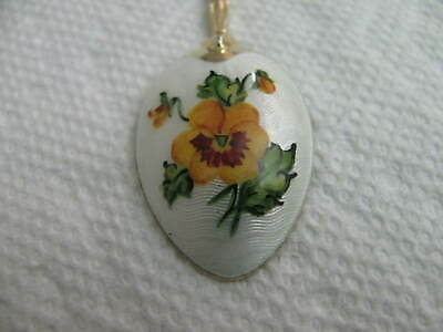England Sterling Silver Enamel demitasse Spoon Flower # 7012