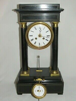 Antique Clock Pendulum a Columns Wood Lacquer Black Napoleon III Xixth Vincenti