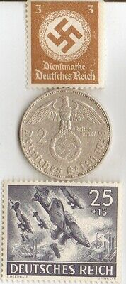 """*Two RARE *WW2 *german STAMPS(""""SHUKA"""" Dive Bumers)+SILVER EAGLE(.625%) coin"""