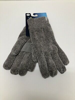 NWT Isotoner Chrome/Lt Gray Chenille Palm Patch Lined Winter Gloves One Size $34
