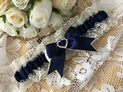 NAVY BLUE AND IVORY WEDDING GARTER SATIN AND LACE heart bridal shower gift bride