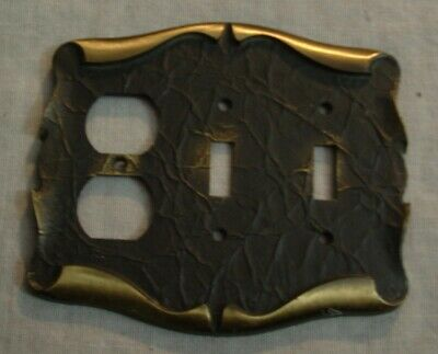 Vintage Ornate Scroll Brass American Tack & Howe Co Double Switch & Outlet Plate