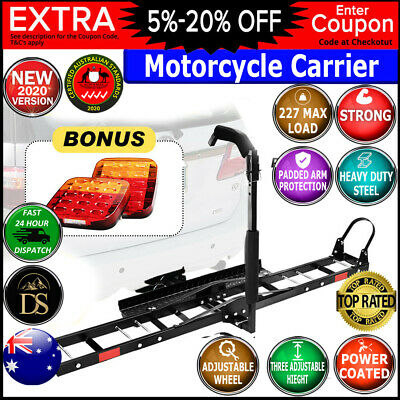 "Motorcycle Motorbike Carrier Rack 2"" Towbar Rack Dirt Bike Ramp Steel W/Light"