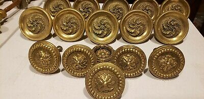 Vintage 15 piece set round Solid HEAVY ornate decorative Brass Large Door Handle