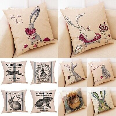 Spring Easter Pillow Covers Cases Decorative Cushion Sofa Rabbit Bunny Gift