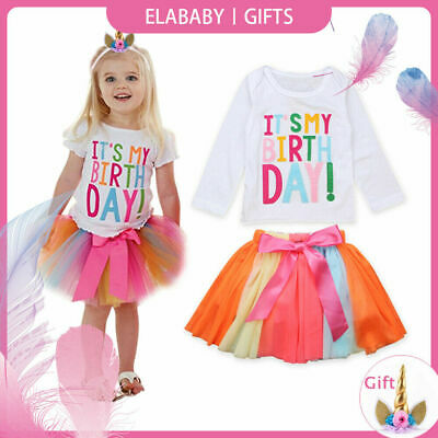 It's My Birthday Tutu Tulle Skirt Colorful Party Dress Costume Baby Girls Outfit